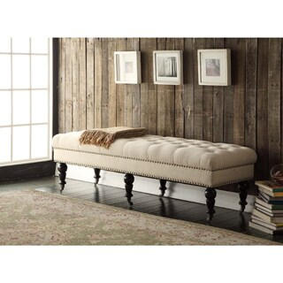 Linon 62-inch Francesca Cream Linen Tufted Bench with Espresso Legs