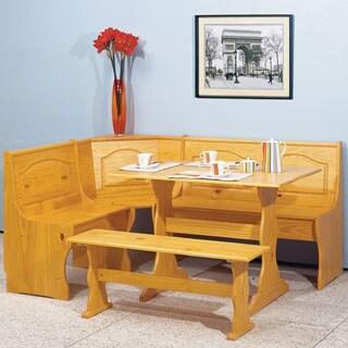 Linon Riki Corner Family Dining Set Light Brown