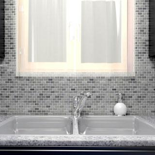 SomerTile 11.25x12-inch Fuse Mini Subway Sonoma Brushed Aluminum and Glass Mosaic Tile (Case of 10)