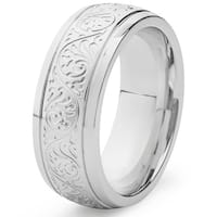 Stainless Steel Ring with Engravings - White
