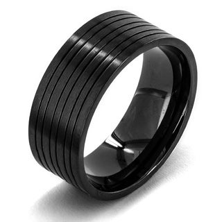 Crucible Black Plated Matte Stainless Steel Grooved Comfort Fit Flat Ring - 9mm Wide