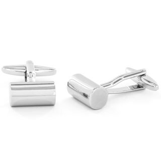 Men's High Polish Silvertone Cylinder Cuff Links