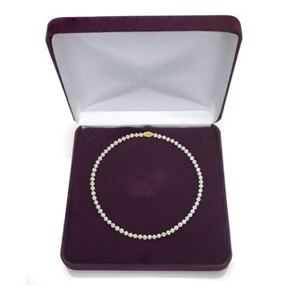 DaVonna 14k Yellow Gold White Akoya Pearl 20-inch Necklace (9-9.5 mm)