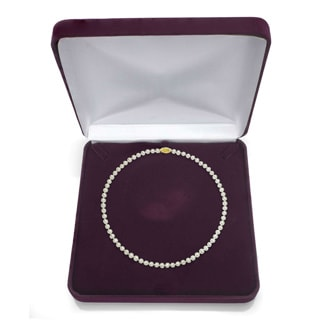 DaVonna 14k Yellow Gold White Akoya Pearl 20-inch Necklace (8.5-9 mm)