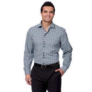 Brio Milano Men's Navy and White Plaid Pattern Button-down Shirt