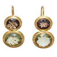 Handmade Gold-overlay Smoky Quartz and Green Amethyst Earrings (India)