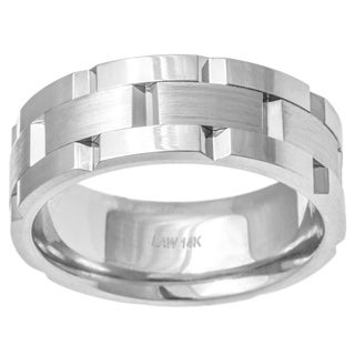 14k White Gold Men's Comfort-fit Handmade Wedding Band