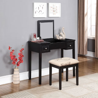 Black Vanity Table with Mirror & Stool