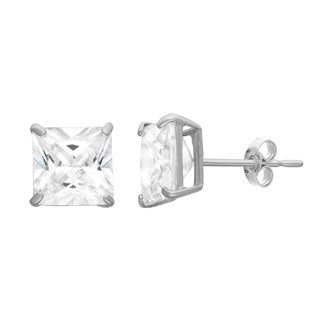 Gioelli 10KT Gold 4.2 tcw 6mm Square Basket-set Stud Earrings