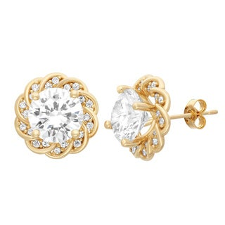 Gioelli 10KT Gold 7.32 tcw 8mm Flower CZ Earrings