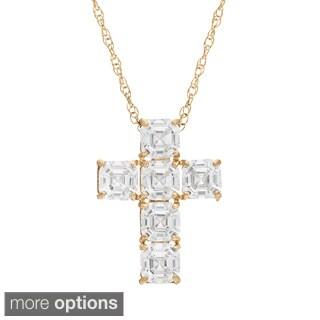 Gioelli 10KT Gold 3.6 tcw Asscher-cut CZ Cross Necklace