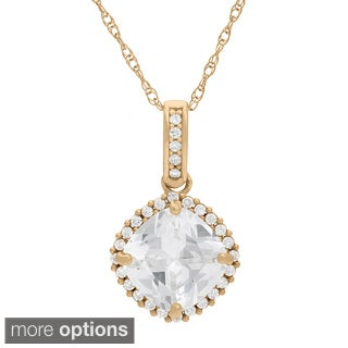 Gioelli 10KT Gold 10.72 tcw 8mm Cushion Pave CZ Pendant