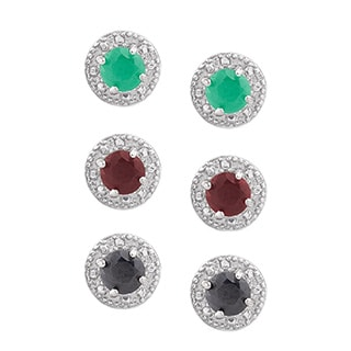 Dolce Giavonna Sterling Silver Gemstone Circle Stud Earring Set with Gift Box