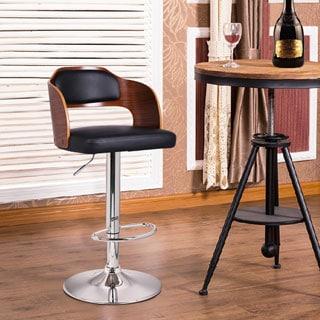 Adeco Walnut Off-black Modern Vented Back Adjustable Swivel Bar Stool