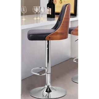Adeco Walnut Off-black Full Buttom Tufted Solid Wood Back Bar stool