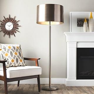 Brushed Nickel Drum Shade 2-light Floor Lamp