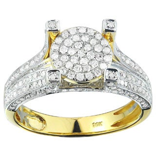 10k Yellow Solid Gold 4/5ct Diamond Engagement Ring