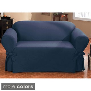 Duck One-piece Relaxed Fit Loveseat Slipcover with Arm Ties