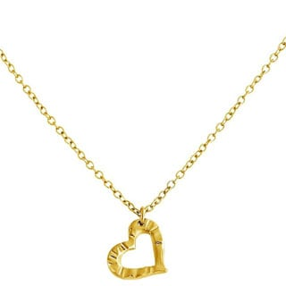 Belcho 14k Yellow Gold Overlay Small Textured Open Heart Pendant Necklace