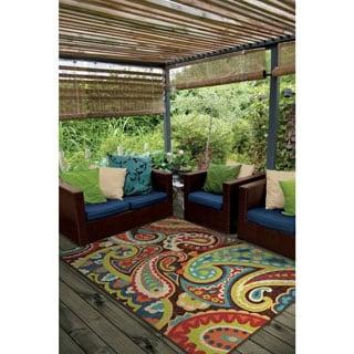 Carolina Weavers Indoor/Outdoor Santa Barbara Collection Floral Rainbow  Multi Area Rug (5u0027