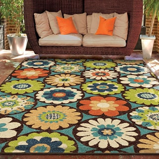 Carolina Weavers Indoor/Outdoor Santa Barbara Collection Corsage Multi Area Rug (5'2 x 7'6)