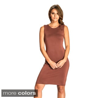 Women's Sleeveless Sheath Dress with Lace Back Detail