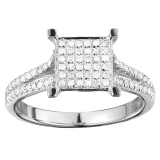10k White Gold 3/8ct TDW Elegant Diamond Engagement Ring