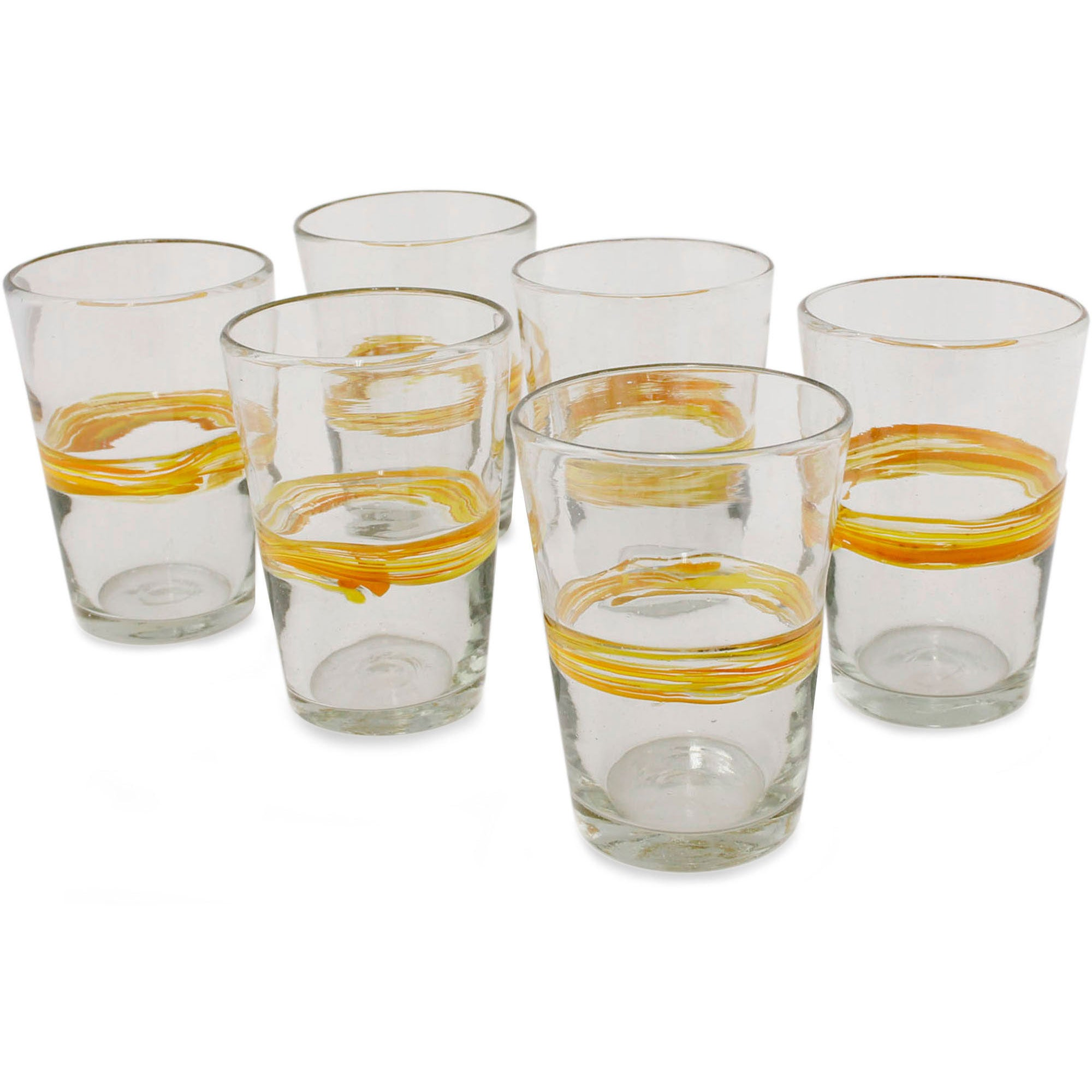 Ribbon of Sunshine Tumblers Clear Orange Band Set of Six Barware Tableware Hostess Gift Handblown Drinking Glasses (Mexico)