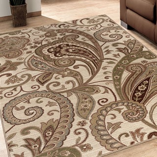Carolina Weavers Ornate Expressions Collection Tansy Beige Area Rug (5'3 x 7'6)