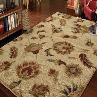 Carolina Weavers Grand Comfort Collection Floral Tendon Beige Area Rug (5'3 x 7'6)