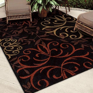 Indoor/ Outdoor Napa Fleur Medallions Black Rug (7'8 x 10'10)