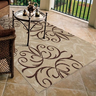 Carolina Weavers Bermuda Collection Medallion Bushel Beige Area Rug (5'2 x 7'6)