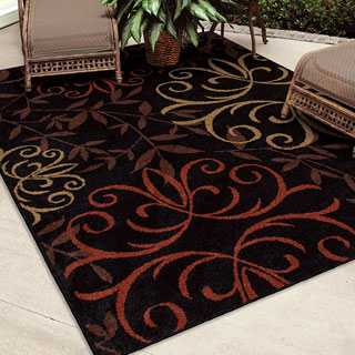 Indoor/ Outdoor Napa Fleur Medallions Black Rug (5'2 x 7'6)