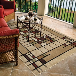 Carolina Weavers Bermuda Collection Corner Block Beige Area Rug (5'2 x 7'6)