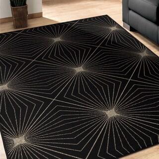 Carolina Weavers Finesse Collection Magic Lines Black Area Rug (5'3 x 7'6)