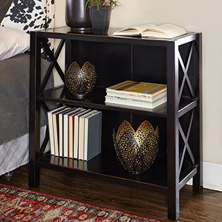 Linon Elsa Bookcase with 3 Shelves, Ebony with Rub Thru