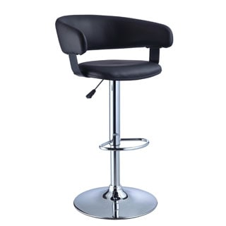 Powell Roxie Black Faux Leather Barrel and Chrome Adjustable Height Bar Stool