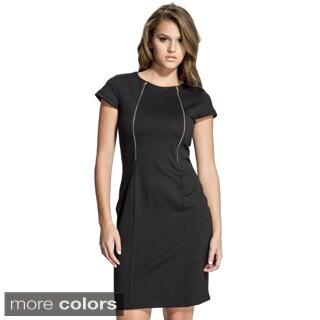 Women's Cap Sleeve Goldtone Zipper Sheath Dress