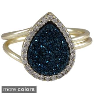 Luxiro Sterling Silver Druzy Quartz and Cubic Zirconia Ring|https://ak1.ostkcdn.com/images/products/P16553573.jpg?impolicy=medium