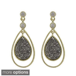 Luxiro Gold Over Silver or Sterling Silver Druzy Quartz Floating Teardrop Earrings