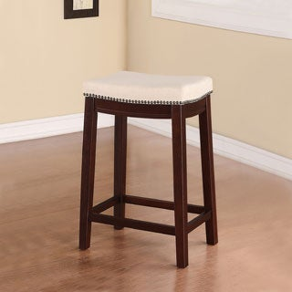 Linon Entice Backless Counter Stool, Cream Linen & Nail head Trim