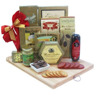 A Cut Above Gourmet Gift Basket with Wood Cutting Board