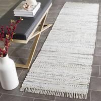 Safavieh Hand-woven Rag Rug White Cotton Rug - 2'3 x 7'