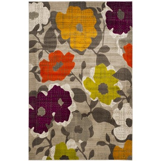 Safavieh Porcello Contemporary Floral Grey/ Yellow Rug (6' x 9')