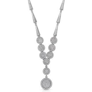 Collette Z Sterling Silver White Cubic Zirconia Micro Pave-set Round Drop Necklace
