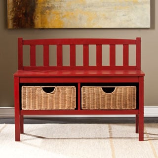 Harper Blvd Red Bench with Storage Baskets