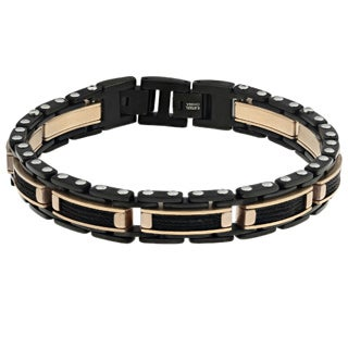 Stainless Steel Multi Ion-plated Cable Inlay Bracelet