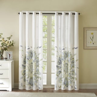 Madison Park Kiely Floral Watercolor Cotton Curtain Panel - 50 x 84