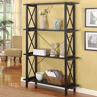 Linon Elsa Wide Bookcase with 3 Shelves, Ebony with Rub Thru