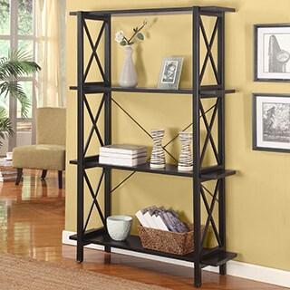 Linon Elsa Wide Bookcase with 3 Shelves, Ebony with Rub Thru